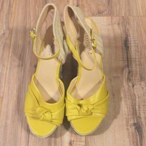 Shoedazzle yellow wedges